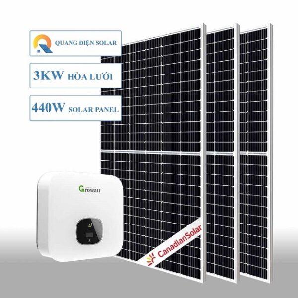 hệ thống điện năng lượng mặt trời hoà lưới 3kw