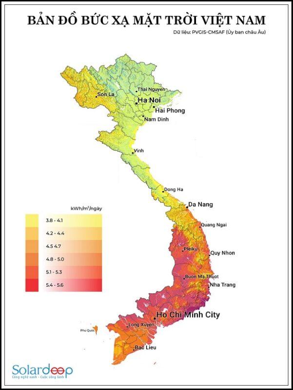 Số giờ nắng đỉnh và bức xạ mặt trời tại Việt Nam