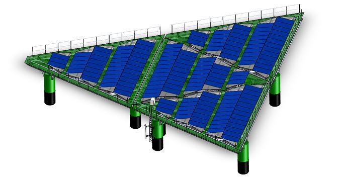 Dự án điện mặt trời nổi hình tam giác